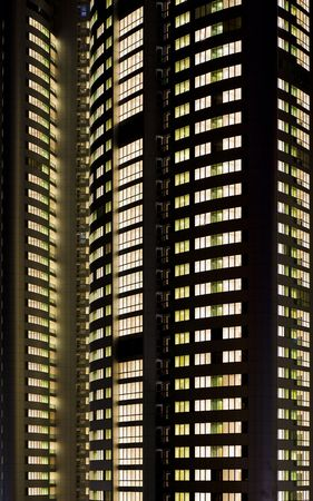 everybody: crop of a skyscraper where everybody seems to be home