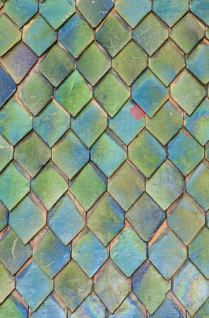 roof tiles: patterns of ceramic tiles on a roof