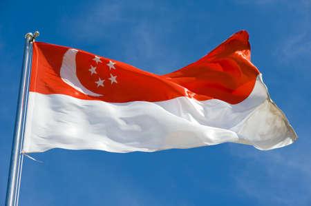 singaporean flag: singaporean flag on a pole against blue sky