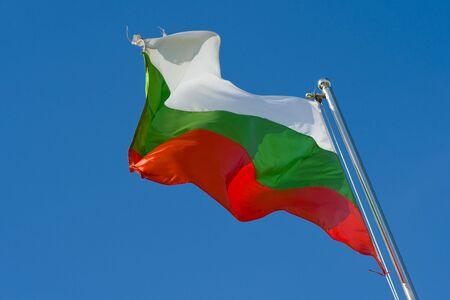 bulgarian flag on a pole against blue sky Stock Photo - 6038222