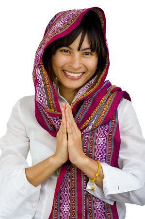belle jeune femme avec un foulard sur sa tête, isolé sur blanc Banque d'images