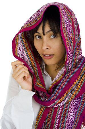 beautiful young woman with scarf over her head, isolated on white Stock Photo - 6064732