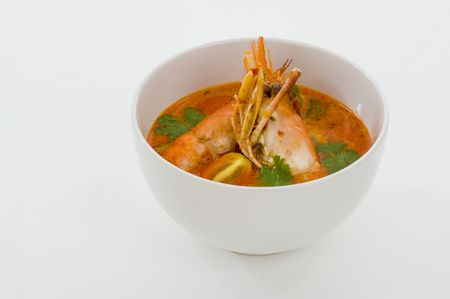 spicy soup with shrimps which is known in thailand as tom yum goong