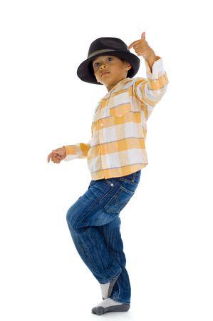 ni�os danzando: ni�o lindo, baile, aislado sobre fondo blanco Foto de archivo