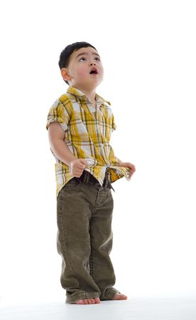 child looking up: concerned cute boy looking up, isolated on white