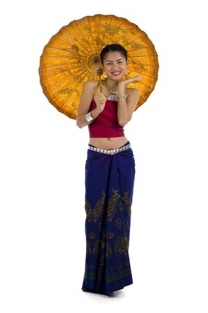 thai girl in traditional isaan style clothes with umbrella, isolated on white Stock Photo
