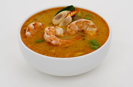 gung: spicy soup with shrimps which is known in thailand as tom yum goong
