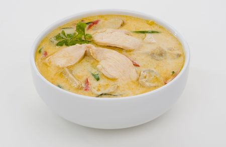 soup bowl: delicious spicy coconut cream soup with chicken