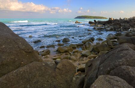 view on a small island at the northern chaweng beach in koh samui, thailand photo
