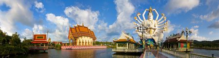 panorama picture of wat plai laem with statue of shiva in koh samui, thailand photo