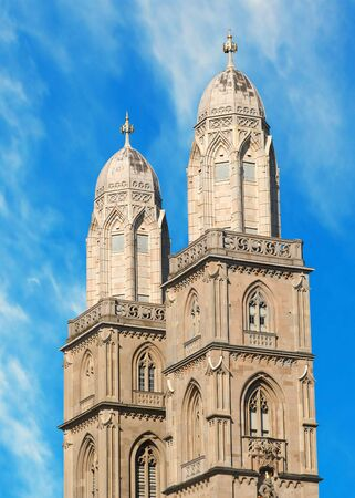the twin towers of the famous grossmuenster church in zurich, switzerland photo