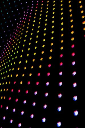 colorful light display: lots of led lights with shallow depth of field