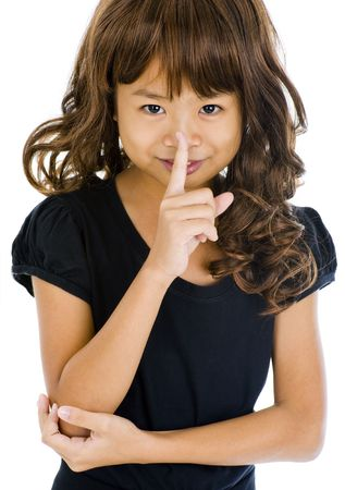 tenager: beautiful asian girl with finger on her lips, isolated on white background Stock Photo