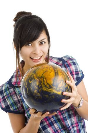 pretty woman with bowling ball, isolated on white background photo