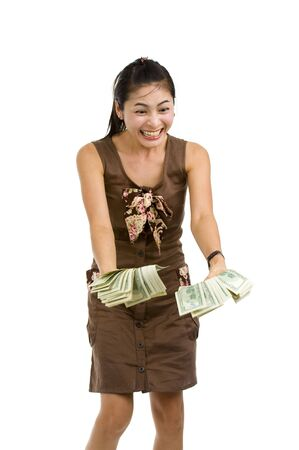 pretty woman holding lots of 100 dollar bills in her hand and almost getting crazy, isolated on white background photo