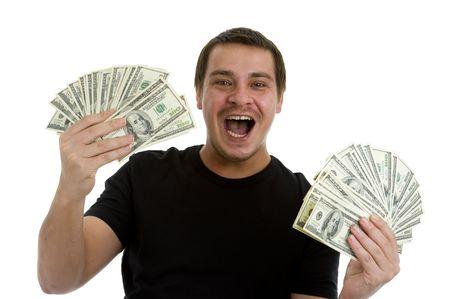 cash money: hombre que sostiene la gran cantidad de billetes de 100 d�lares en sus manos, aislados sobre fondo blanco