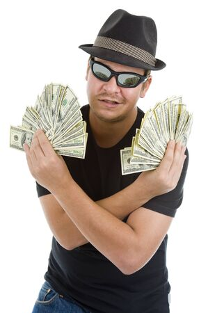 man with a lot of 100 dollar bills, isolated on white background