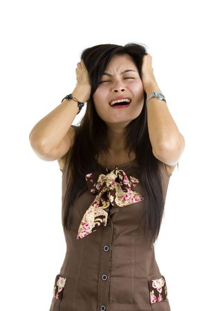 certain: disappointed young asian woman taking it with a certain sense of humor, isolated on white background. lots of asian people try not to show their anger and kind of laugh instead.