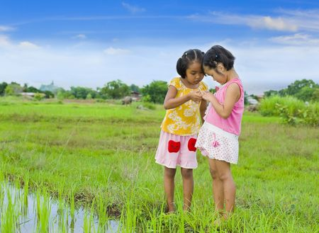 shy girl: cute girl holding something (here a grasshopper) in her hand and showing it to her friend Stock Photo
