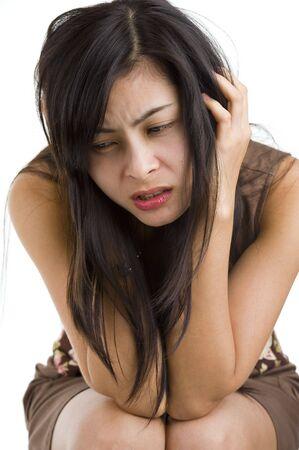 Cier: bardzo smutna piÄ™kne mÅ'oda kobieta, wyizolowany na biaÅ'ym tle  Zdjęcie Seryjne