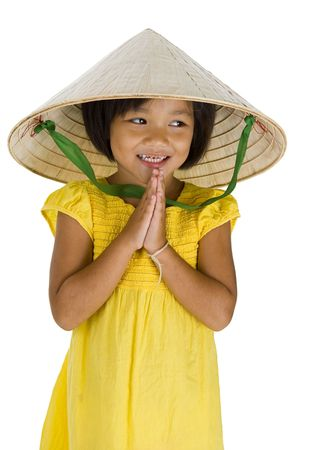 hi hat: cute little uptown girl with vietnamese style hat and typical asian welcome expression, isolated on white background