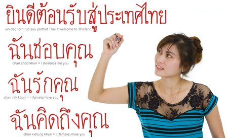 whatever: beautiful young asian woman writing thai sentences or whatever you want with a red marker, isolated on white background. sentences are  Stock Photo