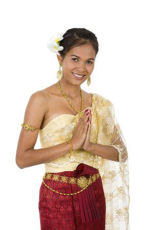 Asie belle expression de bienvenue, isolé sur fond blanc