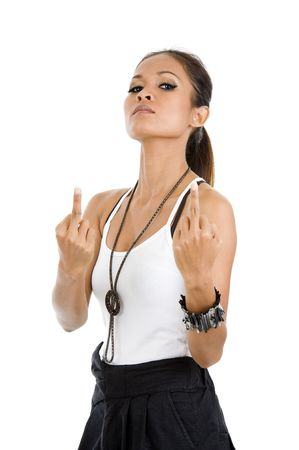 beautiful young woman showing two middle fingers, isolated on white background photo