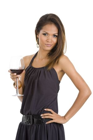 sexy young asian woman with red wine isolated on white background Stock Photo