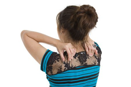 woman got neck pain, isolated on white background photo