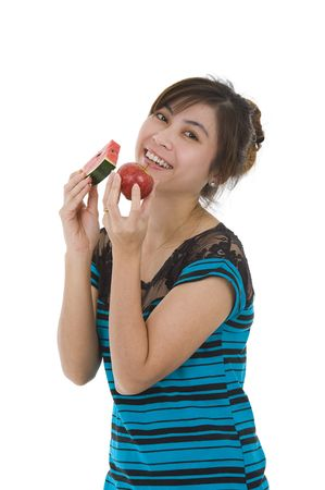 young asian beauty with water melon and apple, isolated on white background photo