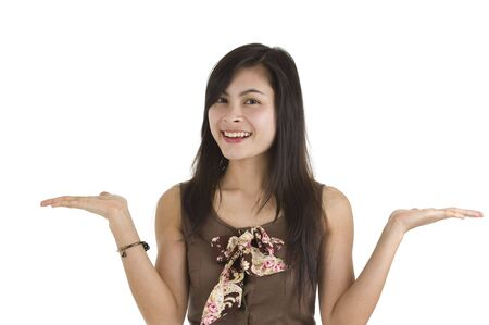whatever: beautiful asian woman presenting whatever you want, isolated on white background