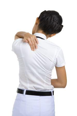 woman got neck pain, isolated on white background photo