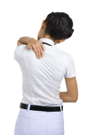 woman got neck pain, isolated on white background
