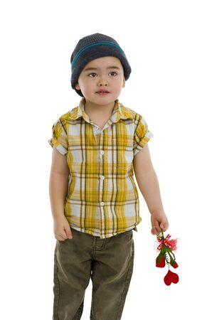 wolly: cute boy with flower and heart gift, isolated on white