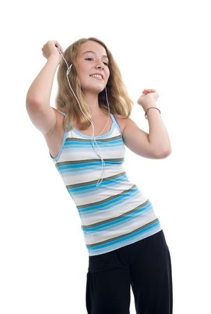 teeny: blonde teeny with mp3 player dancing, isolated on white background