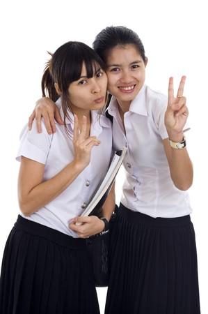 beautiful asian students isolated on white background Stock Photo