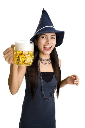 beautiful woman with a huge draft beer, isolate on white background photo