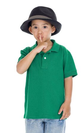 niño lindo pidiendo silencio, aislado en fondo blanco  Foto de archivo - 8196099