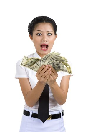 going crazy: businesswoman going crazy because she got a lot of money in her hands, isolated on white background
