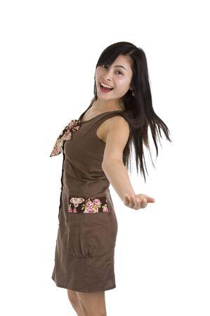 beautiful woman presenting something, isolated on white background photo