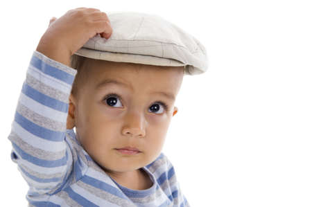 cute little boy with cap, isolated on white background Stock Photo - 8581461