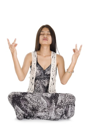 portrait of young woman meditating, isolated on white background Stock Photo - 8803538