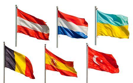belgie: een verzameling van zes Europese vlaggen geïsoleerd op witte achtergrond Stockfoto