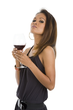 sexy young asian woman with red wine isolated on white background Stock Photo - 8803554