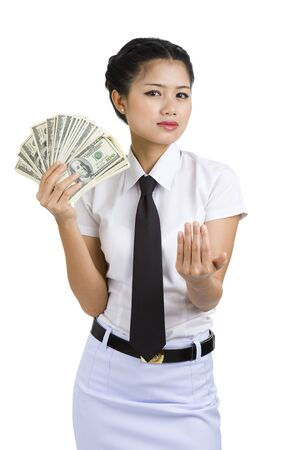 businesswoman with a lot of money asking for something, isolated on white background photo