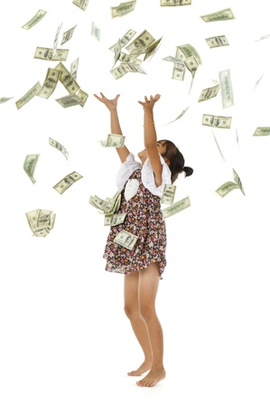 throw up: pretty girl throwing 100 dollar bills, isolated on white background