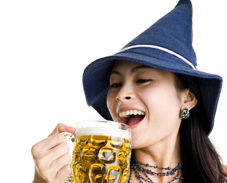 happyl woman drinking beer, isolated on white background photo