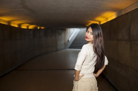 pretty woman posing in the subway area of paris Stock Photo - 11100746