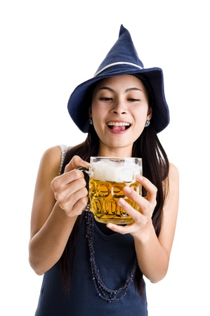 asian woman with a huge draft beer, isolated on white background photo